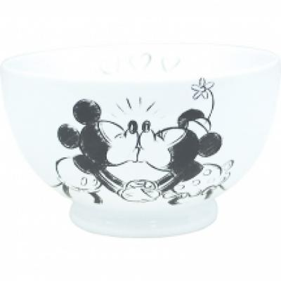 Retro Mickey And Minnie Kissing Cereal Bowl